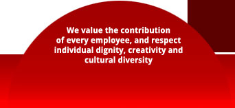 We value the contribution of every employee, and respect individual dignity, creativity and cultural diversity.